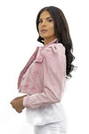 Baby Pink Denim Distressed Puff Sleeve Denim Jacket - Penelope