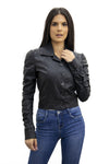 Black Faux leather Button Up Jacket - Blake