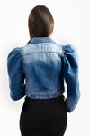 Denim Blue Distressed Puff Sleeve Jacket - Penelope