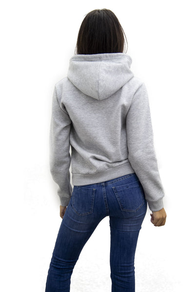 Grey Sequin Lips Hooded Sweatshirt - Yara