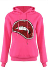 Neon Pink Sequin Lips Hooded Sweatshirt - Yara