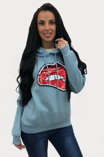 Baby Blue Sequin Lips Hooded Sweatshirt - Yara