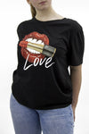 Black Lipstick 'Love' Slogan Round Neck T-shirt - Penny
