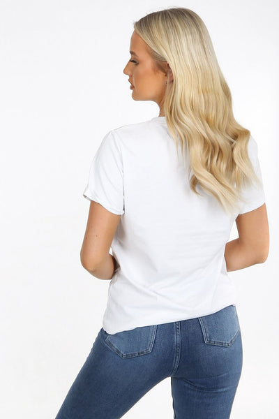 White Lips Slogan Fitted T Shirt - Willow