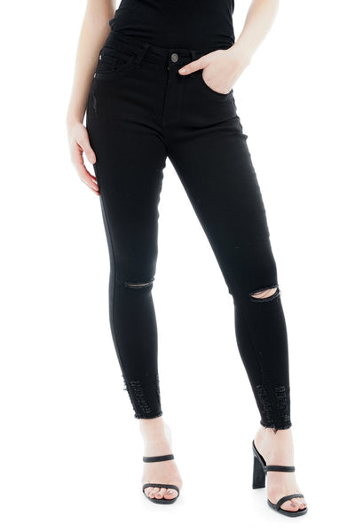 Black Knee Rip Shredded hem Denim Stretch Jeans - Lisa