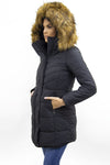 Black Faux Fur Hooded Long Padded Puffer Jacket - Valeria