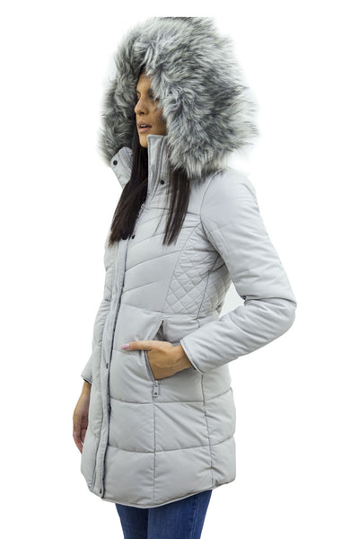 Grey Faux Fur Hooded Long Padded Puffer Jacket - Valeria