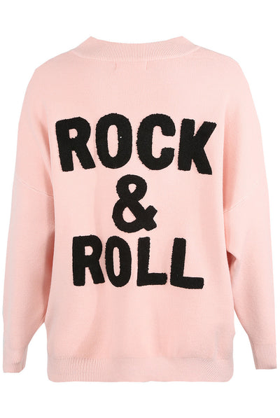 Pink Rock & Roll Baggy Knitted Jumper - Kailani