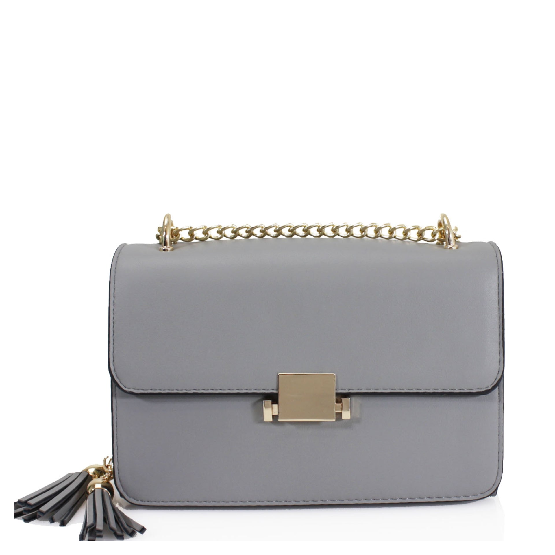 Grey Gold Chain Shoulder Bag - Phoenix
