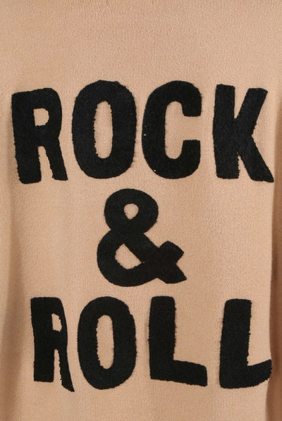 Beige Rock & Roll Baggy Knitted Jumper - Kailani