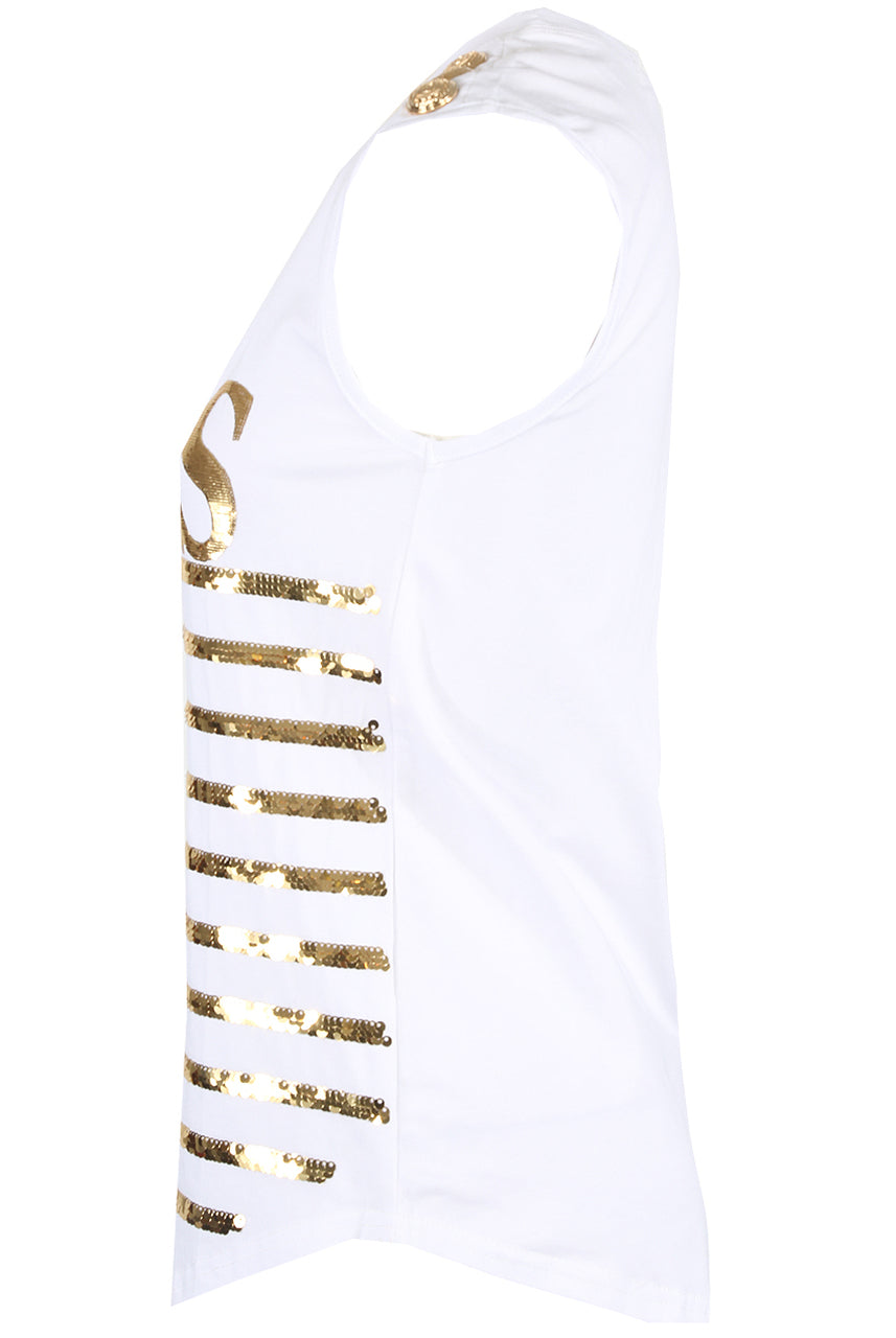 White 'PARIS' Gold Sequin Trim Slogan T-Shirt - Dylan