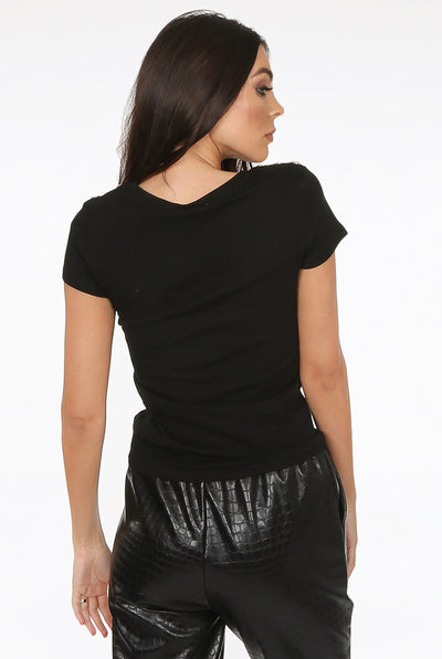 Black Lip Sequin Gold Button Top - Caroline