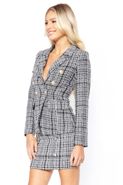 Tweed Gold Button Blazer & Skirt Co-ord Suit - Suzanna - Storm Desire