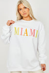 White MIAMI Embroidered Oversized Sweatshirt Jumper - Jada