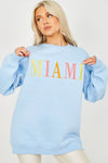 Blue MIAMI Embroidered Oversized Sweatshirt Jumper - Jada