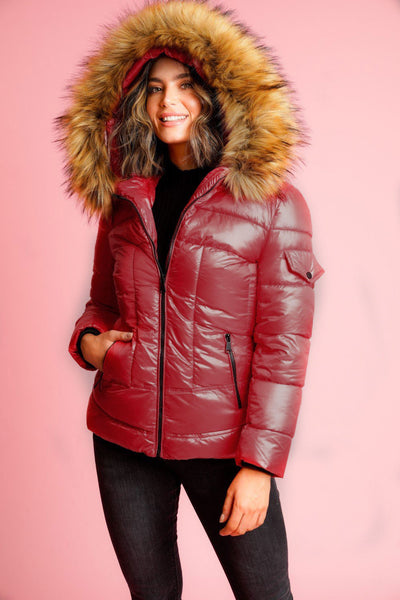 Maroon Faux Fur Hood Puffer Quilted Jacket - Vanessa
