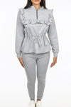 Grey Ruffle Zip Neck Loungewear - Megan