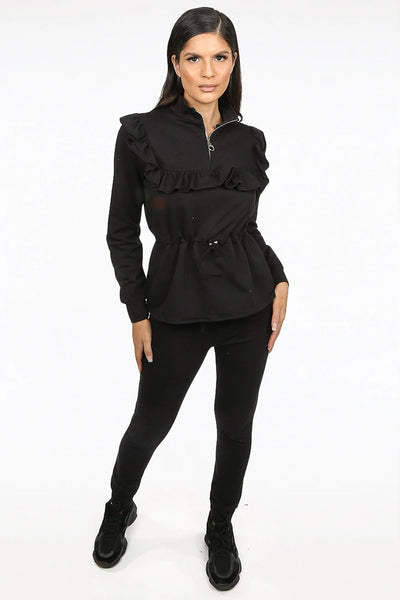 Black Ruffle Zip Neck Loungewear - Megan