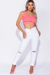 White High Waist Knee Rip Jeans - Michelle