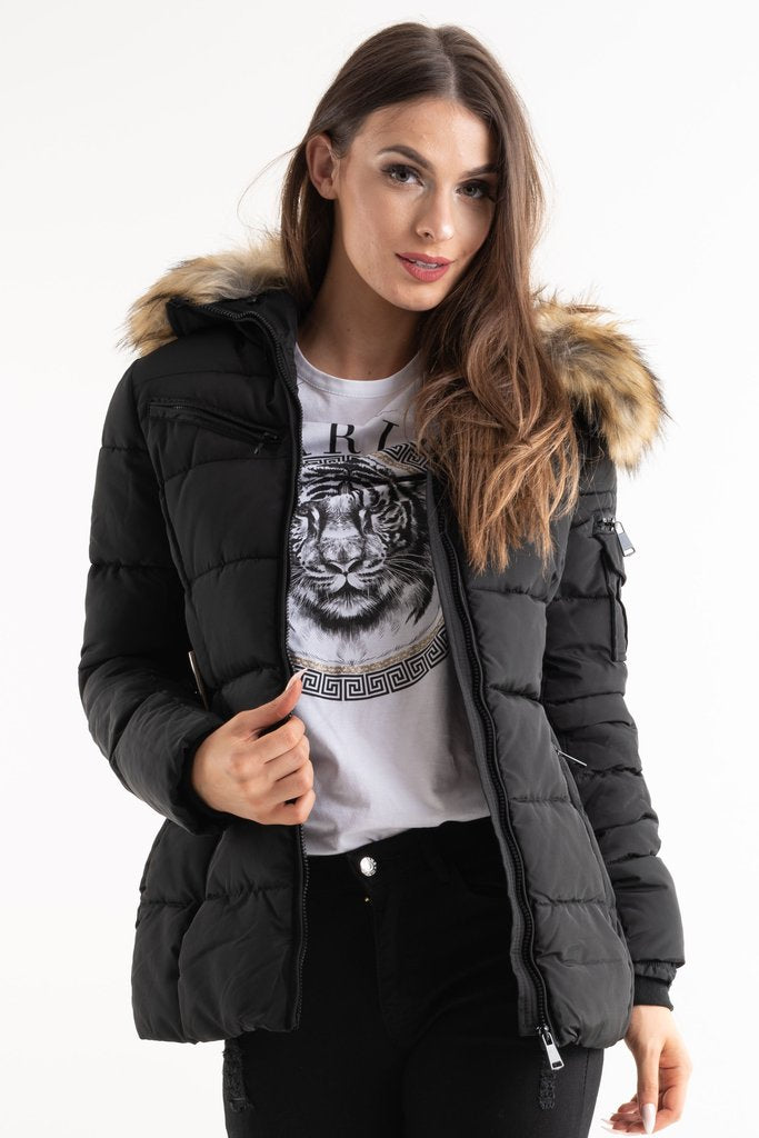 Black Belted Faux Fur Hood Quilted Puffer Jacket - Gracie