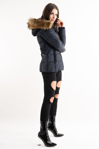 Navy Belted Real Natural Fur Hood Quilted Puffer Jacket - storm desire