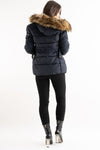 Gracie Navy Belted Faux Fur Hood Quilted Puffer Jacket - storm desire