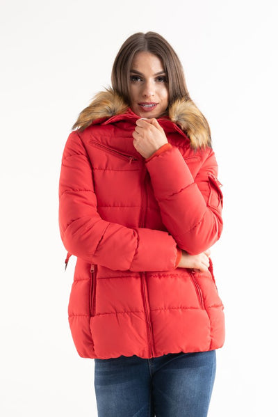 Kid's Red Belted Faux Fur Hood Quilted Puffer Jacket - Mila - Storm Desire