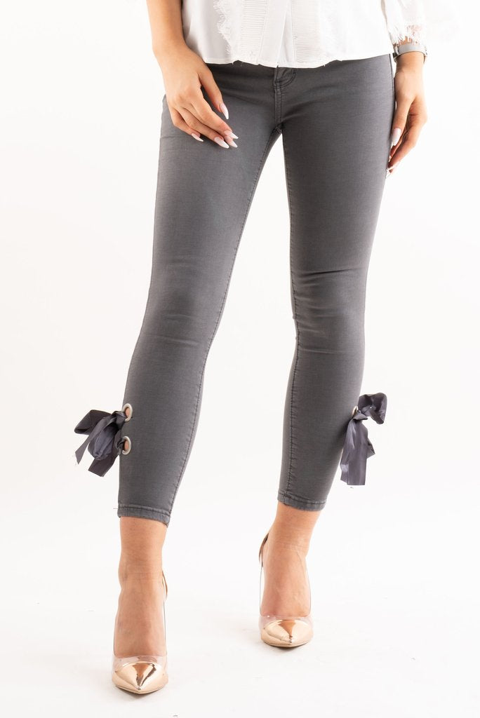 Bella Grey Denim Ribbon Bow Tie Skinny Jeans