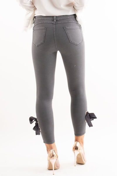 Bella Grey Denim Ribbon Bow Tie Skinny Jeans - storm desire
