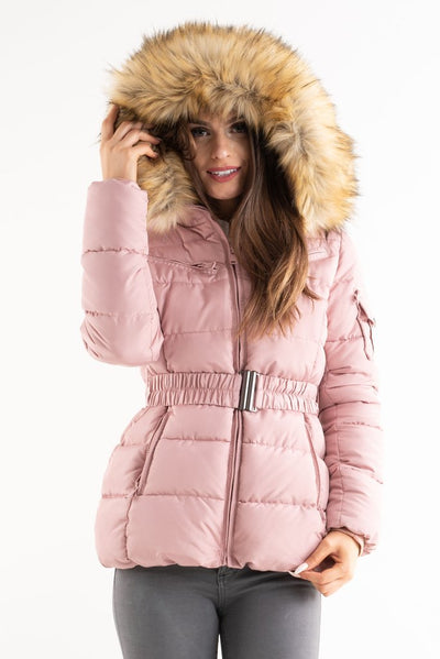 Gracie Pink Belted Faux Fur Hood Quilted Puffer Jacket - storm desire