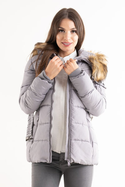 Gracie Grey Belted Faux Fur Hood Quilted Puffer Jacket - storm desire