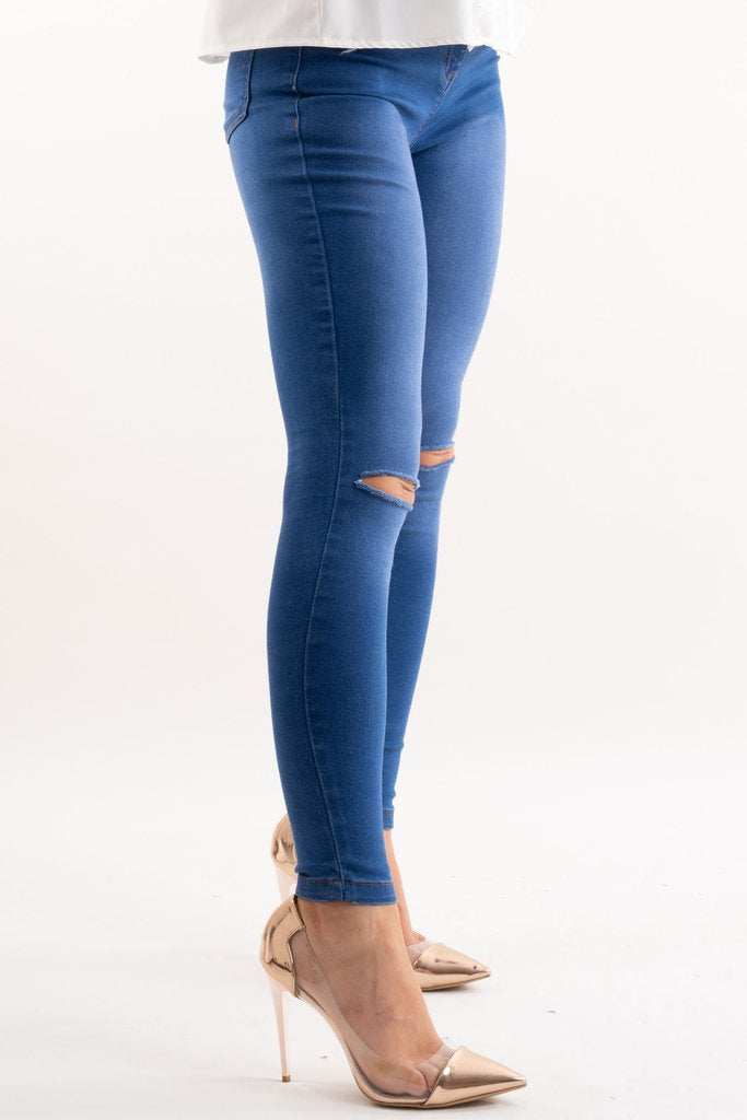 Maria Dark Denim Blue Ripped Knee Skinny Stretch Jeans - Storm Desire