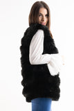 London Black Super Soft Faux Fur Long Gilet - storm desire