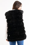 Black Super Soft Faux Fur Long Gilet - London - storm desire