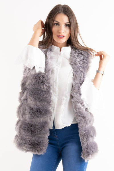 London Grey Super Soft Faux Fur Long Gilet - Storm Desire