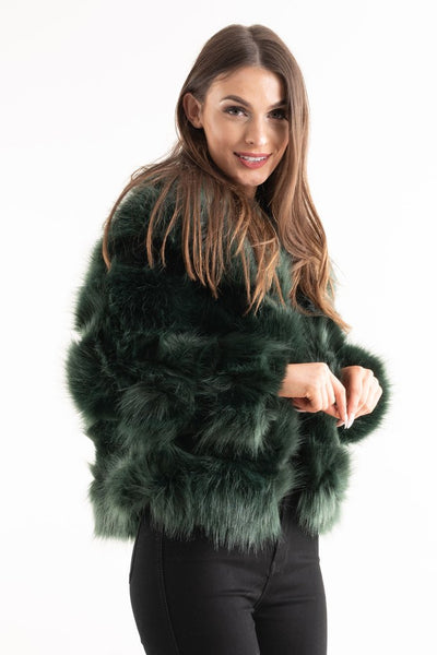 Trinity Teal Green Super Soft Faux Fur Jacket - Storm Desire
