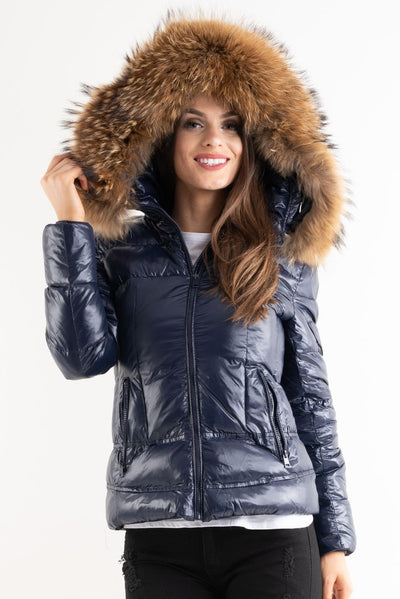 Hannah Navy Blue Shiny Real Fur Hood Puffer Quilted Jacket - Storm Desire