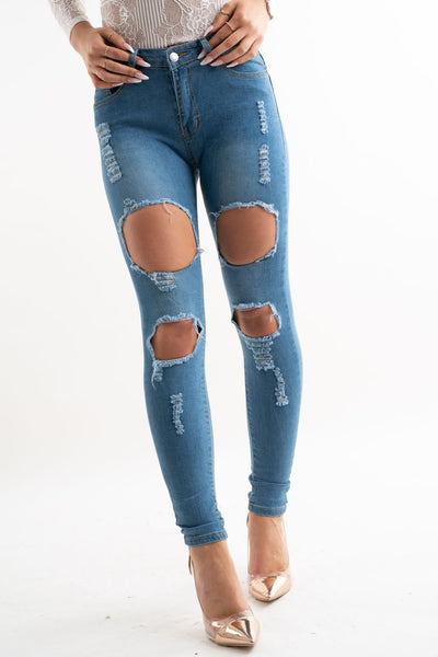 Nicole Extreme Denim Distressed Ripped Jeans - Storm Desire