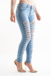 Blue Extreme Bleach Denim Distressed Ripped Jeans - kendal - storm desire