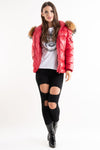 Hannah Red Shiny Real Fur Hood Puffer Quilted Jacket - Storm Desire