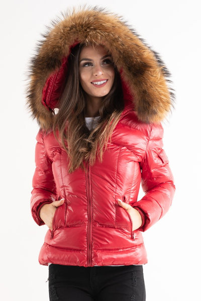 Red Shiny Fur Hood Puffer Quilted Jacket - Hannah