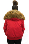 Red Aviator Pilot Faux Fur Hood Bomber Jacket - Emilia