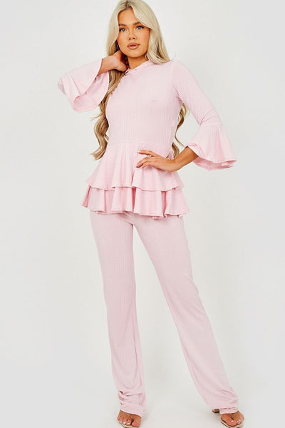 Pink Layered Frill Hem Hooded Ribbed Co-ord - Julia