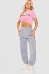Pink No Bra Club Slogan Print Crop Top - Izzy