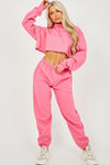 Fuchsia Pink Hooded Jersey Loungwear Suit - Nova