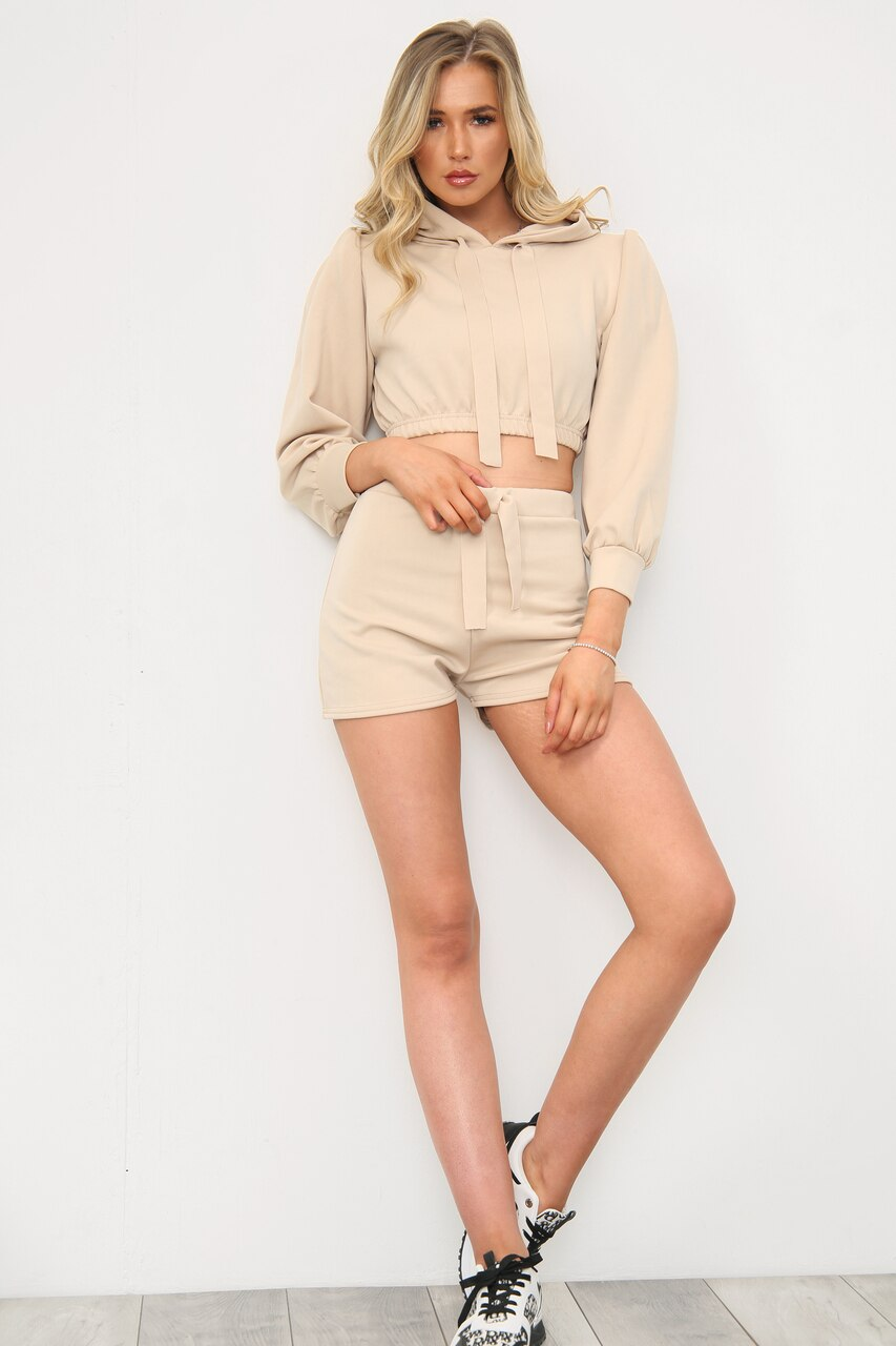 Sand Hooded Crop Top & Shorts Co-Ord Set - London