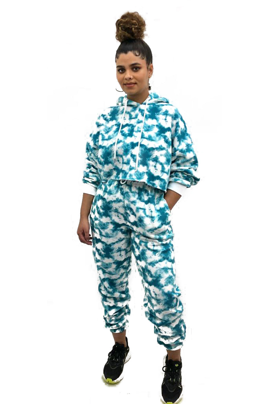 Ocean Blue Tie Dye Hooded Jersey Loungwear Suit - Nova