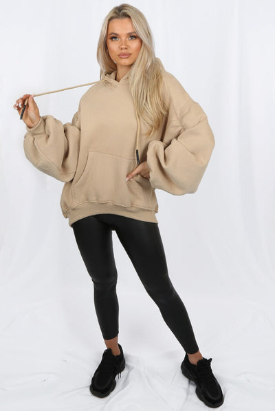Beige Ruched Sleeve Hooded Sweatshirt - Kora