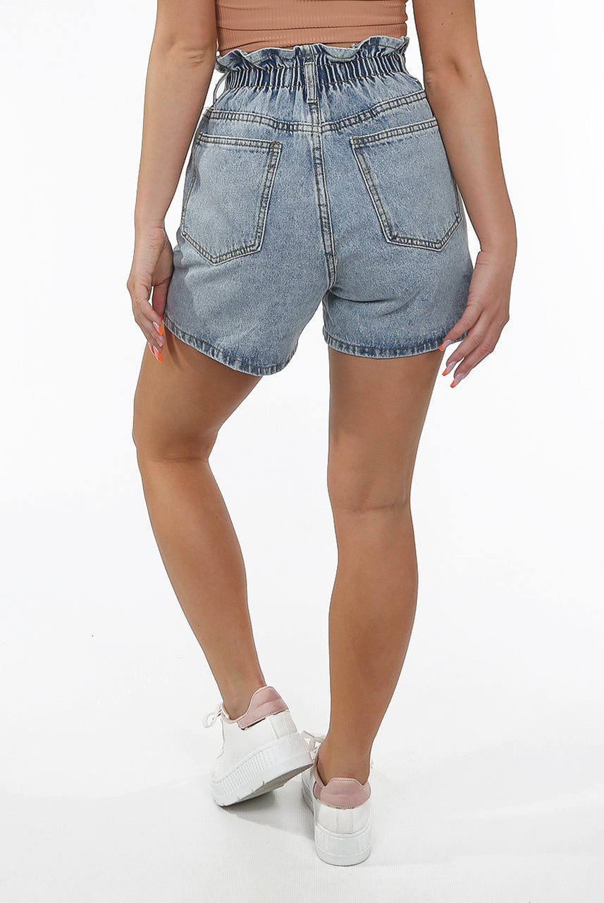 Elasticated Waist Button Up Denim Shorts - Jill