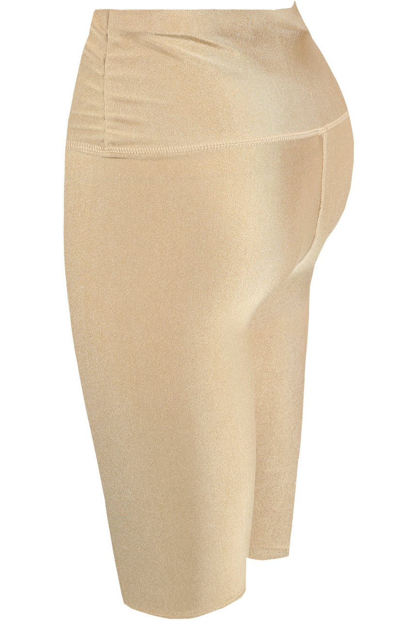 Beige Satin Disco Cycling Shorts - Helen